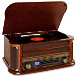 auna Belle Epoque 1908 equipo estéreo con tocadiscos y Bluetooth (USB, reproductor CD, MP3 y...