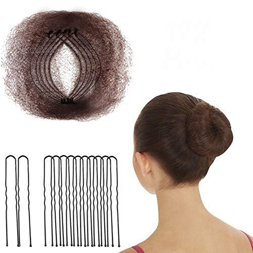 hugttt Haarnetze, unsichtbar, 50 cm, elastischer Rand, Netzstoff und 72 Stück, U-förmige Nadeln für Ballett