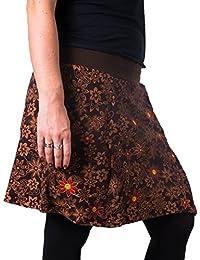 Vishes – Alternative Bekleidung – Warmer Herbst/Winter Rock aus Baumwolle – mit Blumen bestickt