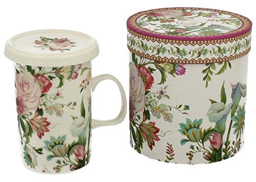 à thé en porcelaine Mug Tasse à Café April avec passoire Infuseur Couvercle 320 ml en céramique Fleurs