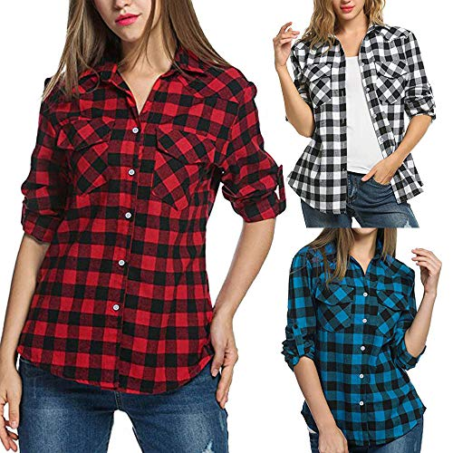 LSAltd Women Ladies Vintage Plaid Flannel Shirts Casual Roll-up Long Sleeve Front Pocket Button Down Tops Blouse