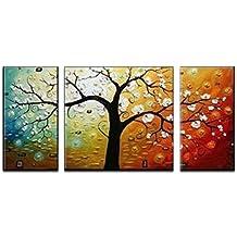 Wieco Art Triptyque peint à la main sur toile, motif moderne d'arbre pour décoration d'intérieur