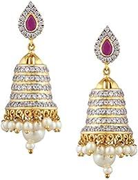 f29d44a23 Swasti Jewels American Diamond CZ Zircon Fashion Jewellery Traditional  Ethnic Jhumki Earrings for Women