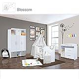 Babyzimmer Mexx in Weiss Hochglanz 11 tlg. mit 3 türigem Kl. + Blossom Grau