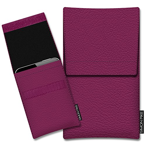 SIMON PIKE Kunstleder Tasche Sidney, kompatibel mit Motorola Moto G7, in 01 pink Kunstleder
