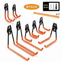 Chasstoo Garage Storage Hooks and Hangers, Heavy Duty Ladder Hooks, Tool Hangers for Shed Garage Wall, Utility Hanging Hooks for Garden, Bike and Bulky Items with a Carpenter Pencil (8-Pack)