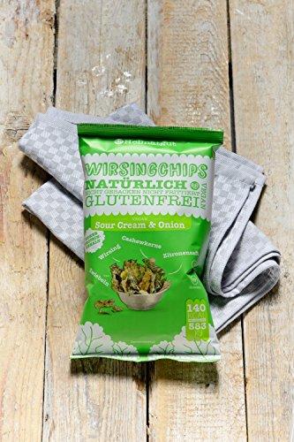 Heimatgut Wirsingchips Sour Cream & Onion ( 4 x 35g ) - natürliche Chips aus luftgetrocknetem Wirsing. Veganer und glutenfreier Snack ohne künstliche Zusatzstoffe. - 4