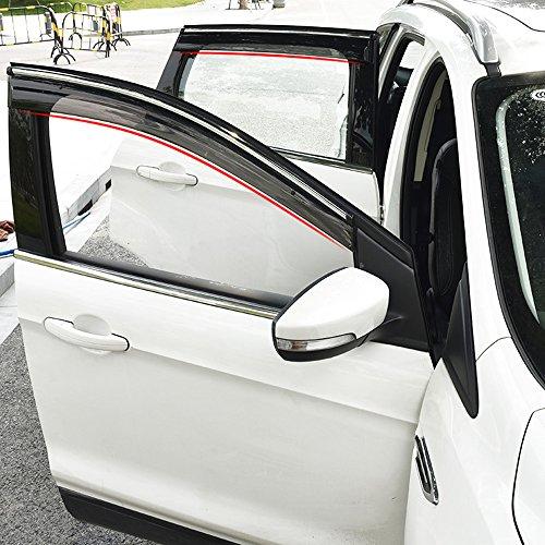 BeHave yd315w Windabweiser,Vorne Fensterdeflektor,Auto Fenster Schutzrahmen,Auto Fensterführungsrahmen,1 Satz von 4 Stücken,Schwarz Transparent Geeignet für Ford Kuga 2015 2016 2017 2018