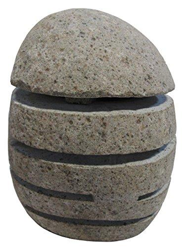 STONE art & more Stein-Laterne mit Leuchtschlitzen, 30-35 cm, Naturstein, Flussstein, frostfest