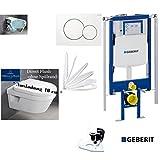 Geberit Duofix UP 320 ECK Vorwandelement mit Sigma01 WEISS, V&B Architectura Compact AL: 480 mm WC DirektFlush Spülrandlos, Tiefspül-WC, inkl. Sitz ,Ceramicplus