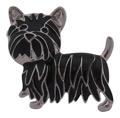 Brooch Boutique emaillierte Brosche in Form eines Hundes / Scottish Terrier, schwarz und silberfarben -