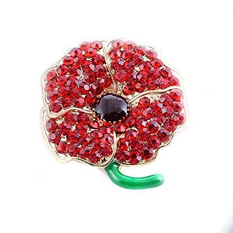 LeahWard®femme Men's Children's Petit Rouge Poppy Flower Diamante Gold Colour Brooch Pin Church Badge (CWB1502)