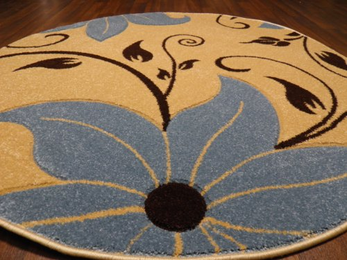 Circular Lily Cream/Blue 140x140cm Circle Hand Carved Woven Backed Top Quality Rugs