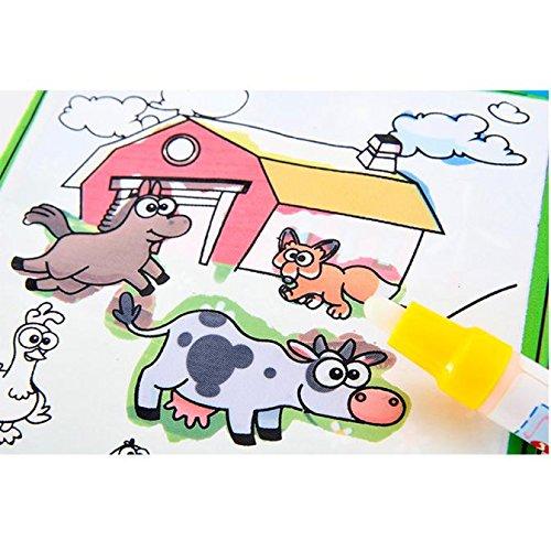 Eliasan Magische Wasser Zeichnung Buch Wiederverwendbare Travel Activity Pad mit Doodle Magic Pen Tiere malen für Kinder Bildung Zeichnung Spielzeug 2 Alter und bis (Spielzeug Papier Bücher, Magische Und)