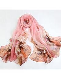 Tao Pañuelo de Seda Bordado de impresión Bordado Primavera Bufanda de Seda Larga Salvaje mantón chales Toallas de Playa (Longitud:…