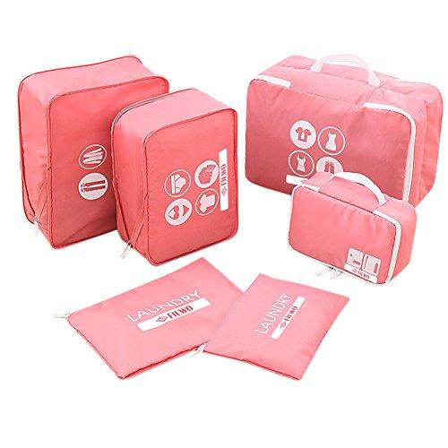 Kleidertaschen, FILWO 6 in 1 Packwürfel Leicht Tragbar Wasserdicht Packing Cube in Koffer Wäschebeutel Schuhbeutel Kosmetik Aufbewahrungstasche während der Reise (Rosa) -