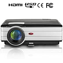 """HD Projector EUG 720p 3000 Lumen LED Home Video Projector 1080p Support HDMI VGA TV Multimedia for Outdoor Movie Party Entertainment Game Playing Beamer, with Speakers up to 150"""""""