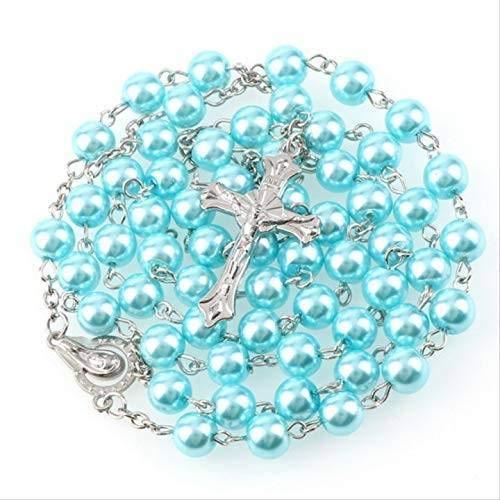 Rosenkranz mit blauen Perlen Schmuck 55 cm