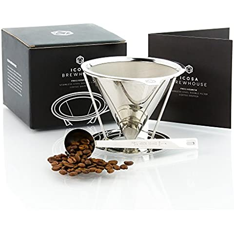 PreciseBrew Stainless Steel Paperless Pour Over Coffee Dripper Set with Double Mesh Filter, Stand, and Measuring Scoop by ICOSA Brewhouse by ICOSA