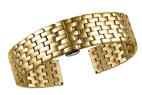 17mm atemberaubende Gold Metall High-End-Uhrenarmbänder Ersatz massiven Edelstahl mit gefalteten Schnalle