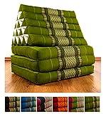 Jumbo Dreieckskissen XXL der Marke livasia®, Thaikissen aus Thailand, Liegematte asiatisch bzw. Thaikissen (Thaimatte) mit Triangelkissen als Nackenstütze (grün)