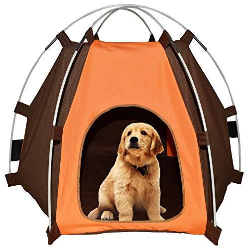 Lifeunion Wasserdichtes Haustier-Zelt mit abnehmbarem sechseckigem Hundehüttenzelt mit extra starkem Stab, Kiste für kleine und mittelgroße Hunde, Orange-1