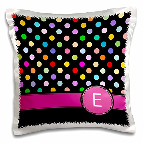 3dRose PC 154302_ 1Buchstabe E Monogramm auf Rainbow Polka Dots Muster Hot Pink Personal Initiale schwarz Girly Multicolor Kissen Fall, 40,6x 40,6cm