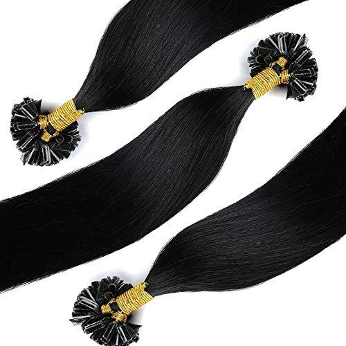 Bonding Extensions Echthaar Haarverlängerung U-Tip 100 Strähnen 0.5g per Echthaarsträhne 50g-55cm(#1 Schwarz)