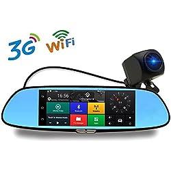 3G Espejo Retrovisor Dash Cámara Para Coche DVR 7 Pulgadas 1080p Bluetooth Wifi GPS Backup Cam con G-Sensor Loop Recording