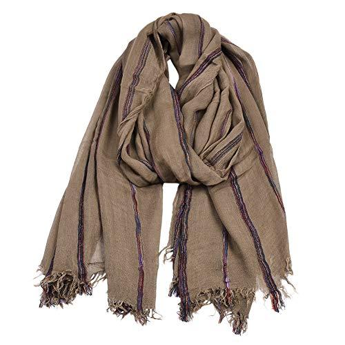 LWYLBP Schal Europa Und Den Vereinigten Staaten Frauen Nationalen Wind Baumwolle Garn Gefärbt Streifen Winter Schal Schal-Camel -