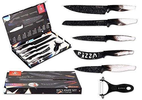 Geschenk Messerset Küche Multifunktions 6 Teiliges Küchenmesser mit Sparschäler rostfreies leicht zu reinigen (Chefmesser, Brotmesser, Universalmesser, Pizzamesser, Schälmesser, Gemüseschäler) (Weiß)
