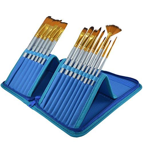 Pinceles de pintura–Juego de pinceles de 15piezas para acuarela, acrílico, aceite y pintura corporal | Pinceles de mango corto con soporte de viaje y caja de regalo