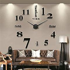 Idea Regalo - Orologi da parete 3D Fai Da Te Moderno Silenzioso Acrilico Adesivi Murali Decorazione, Nero