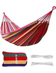 Enkeeo - Hamaca Colgante de Algodón para Jardín Camping (2 Cuerdas, Capacidad 150kg, 190 x 80cm) Multicolor