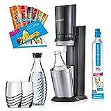 Unbekannt SodaStream Set Crystal 2.0 Promopack Titan | Trinkwasser-Sprudler | inkl. 1 Zylinder, 2 Glaskaraffen 0,6l (spülmaschinenfest), 2 Trinkgläsern und 6 Sirupproben; Farbe: Titan