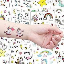 Lomire Tatuajes Temporales para Niños (20 Hojas), Tatuajes Pegatinas Cartoon Infantiles Regalo de Fiestas Cumpleaños de Niños Niñas, Unicornio