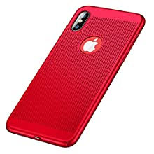 iPhone Xs Case, Ultra-Thin Bumper Hard PC Shockproof Anti-Scratch Sweatproof case [Breathable] Mesh Hole Heat Dissipating for iPhone Xs (iPhone Xs, Red)