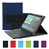 Besmall Wireless Touch Bluetooth Drahtlose Tastatur mit QWERTZ Tastaturlayout für Android Windows Tablet Smartphone(Mit PU-Hülle,Dunkelblau)