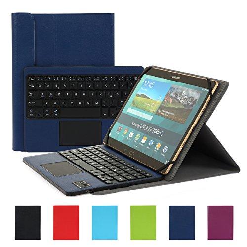 Besmall Wireless Touch Bluetooth Drahtlose Tastatur mit QWERTZ Tastaturlayout für Android Windows Tablet Smartphone(Mit PU-Hülle,Dunkelblau)