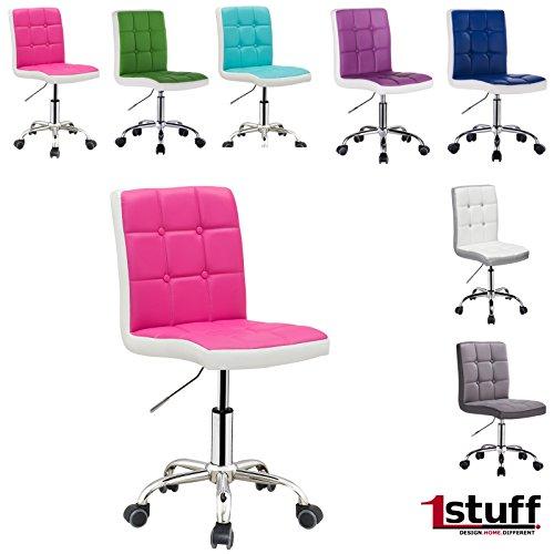 Bürostuhl LADYLIKE von 1stuff - natürlich auch für IHN - höhenverstellbarer und 360 drehbarer Schreibtischstuhl, Schreibtischsessel, Rollhocker, Drehstuhl, Drehsessel, Arbeitsstuhl, Besprechungsstuhl, Arbeitshocker, Küchenstuhl (pink-weiß, Lederimitat)