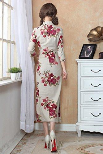 ACVIP Damen Verbessern Sieben Punkte Ärmel Blumen Muster Schlitz Kunst Cheongsam Farbe3