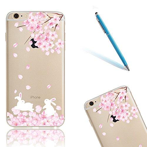 iPhone 8 Hüllen, Rosa Kirschblüten Malereifarbig CLTPY iPhone 7 Klarkristall Silikon Schale Case mit Bling Glitzer Diamant für Apple iPhone 7/8 + 1 x Freier Stylus Peach & Rabbit