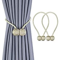 1 Pair Magnetic Curtain Tiebacks Magnetic Curtain Straps Strong Magnetic Curtain Buckle for Home Office Beige