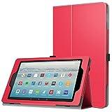 MoKo Hülle Fire HD 10 Tablet (7th Gen.- 2017 Modell) - Kunstleder Ständer Schutzhülle Smart Cover mit Auto Sleep/Wake up für All-New Amazon Fire HD 10,1 Zoll Tablette, Rot