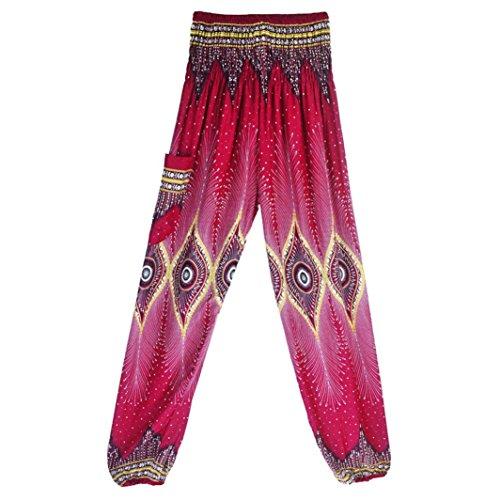 TUDUZ Thai Hippie Hose Hosenrock Haremshose Pumphose für Damen & Herren (Y-Pink, S-XL) (Weiße Thai-yoga-hosen)