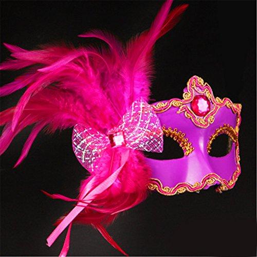 e-up Tanz Show Gemalte Federn Halbes Gesicht Spitze Schöne Prinzessin Schmetterling Knoten Masken,Rose Red (Red Skull Halloween-make-up)