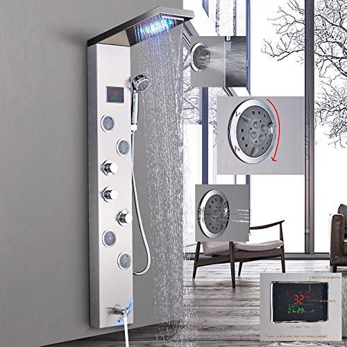 LED Duschpaneel aus rostfreiem Edelstahl mit Temperaturanzeige und 4 Massagedüsen Farbe: Nickel gebürstet