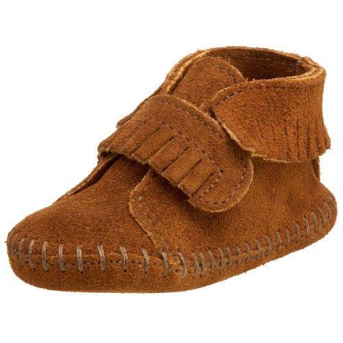 Minnetonka Velcro Front Strap Bootie, Unisex Baby Krabbelschuhe, Braun (Brown / BRN), 17/18 EU (Strap Front Bootie)