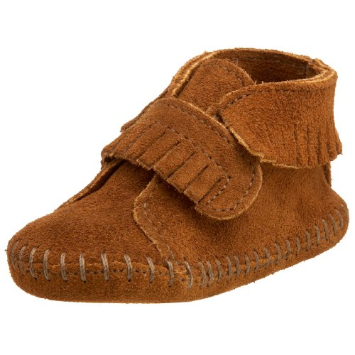 Minnetonka Velcro Front Strap Bootie, Unisex Baby Krabbelschuhe, Braun (Brown / BRN), 20/21 EU (Casual Braun Schuh Velcro)