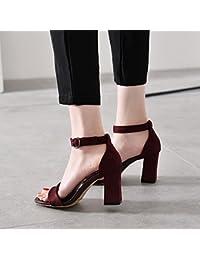 85f89e8e1ec Amazon.es  Sandalias Negras De Tacon - 35   Zapatos para mujer ...